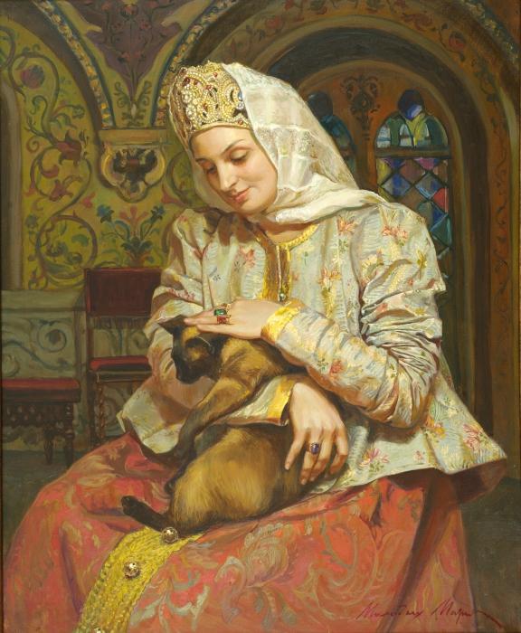 Боярышня с кошкой. Автор: Молодых Мария.