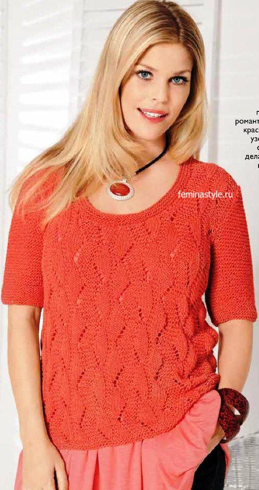 Коралловый пуловер для пышных красавиц
