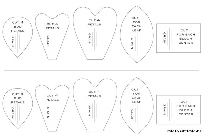 Цветочки кизила из гофрированной бумаги. Шаблоны (2) (700x460, 86Kb)