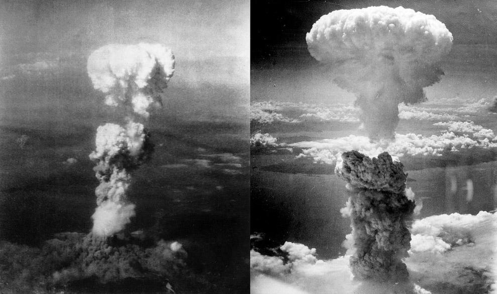 «грибы» от атомных взрывов над Хиросимой (слева) и Нагасаки