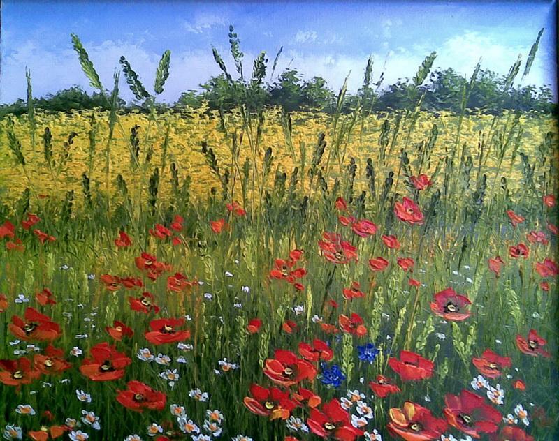 Полевые цветы в рисунках маслом
