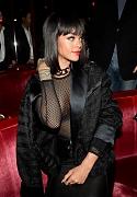 Рианна в просвечивающем наряде афтепати модного показа «Balmain»