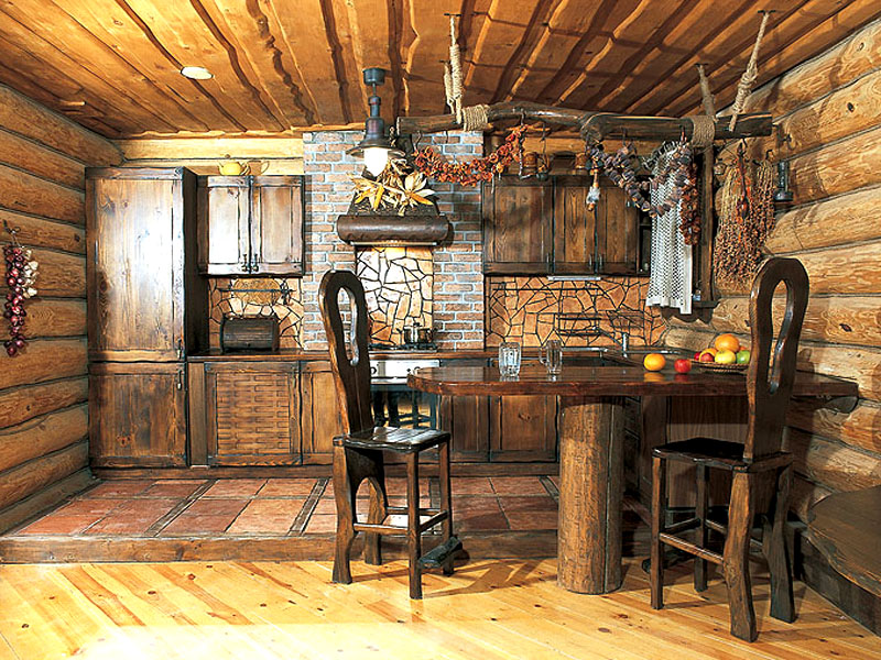 материалами, кухня в стиле избы горшков и мазвнки Главная