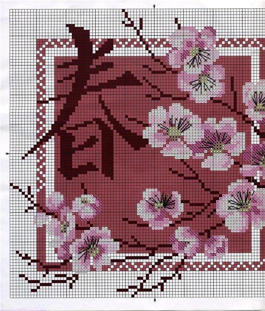 Вышивка крестиком сакура схема