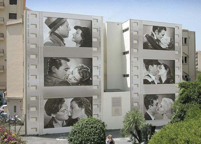 На одном из зданий можно увидеть впечатляющую галерею «Поцелуи звезд» (Patrick Commecy & A.Fresco). | Фото: boredpanda.com.