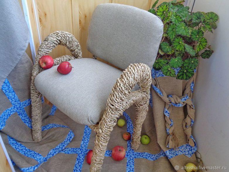 Реставрация стула в технике спирального плетения
