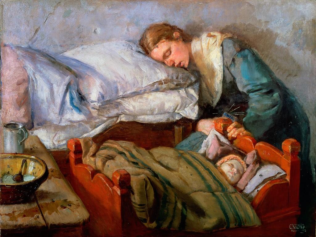 Спящая мать и с её е 8 фотография