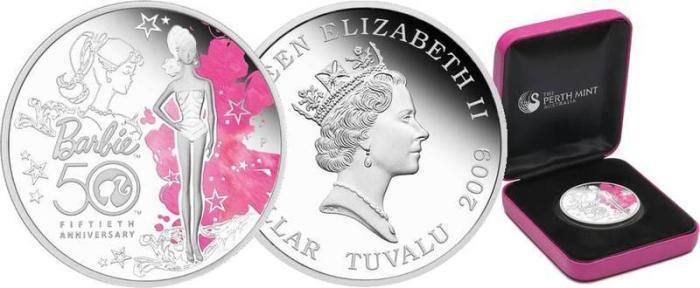 Монета с изображением куклы Барби./Фото: static.newauction.ru