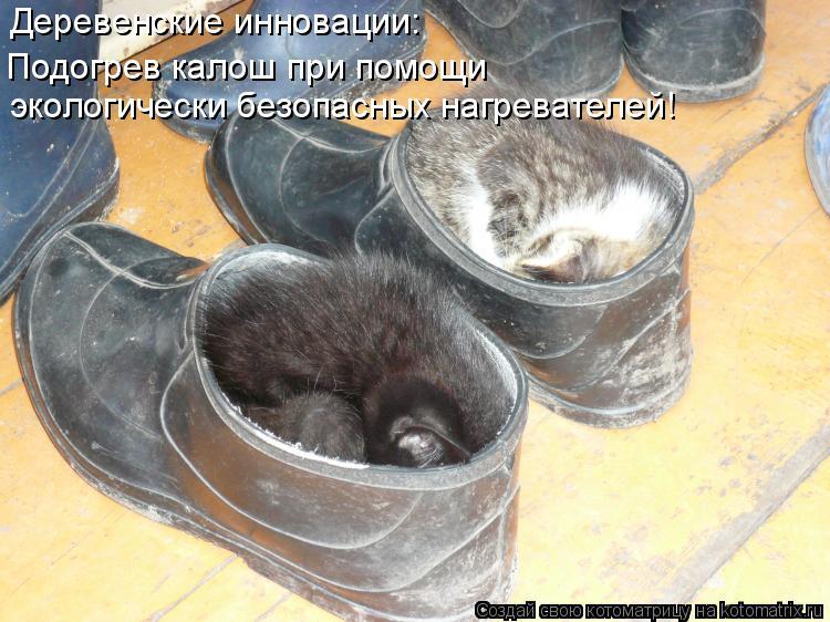 Котоматрица - Деревенские инновации: Подогрев калош при помощи   экологически безопас