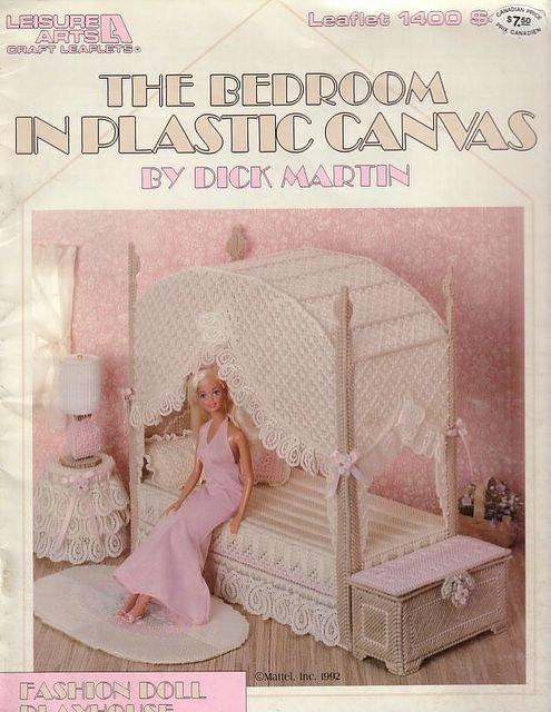 Вышитая кукольная мебель из пластиковой канвы