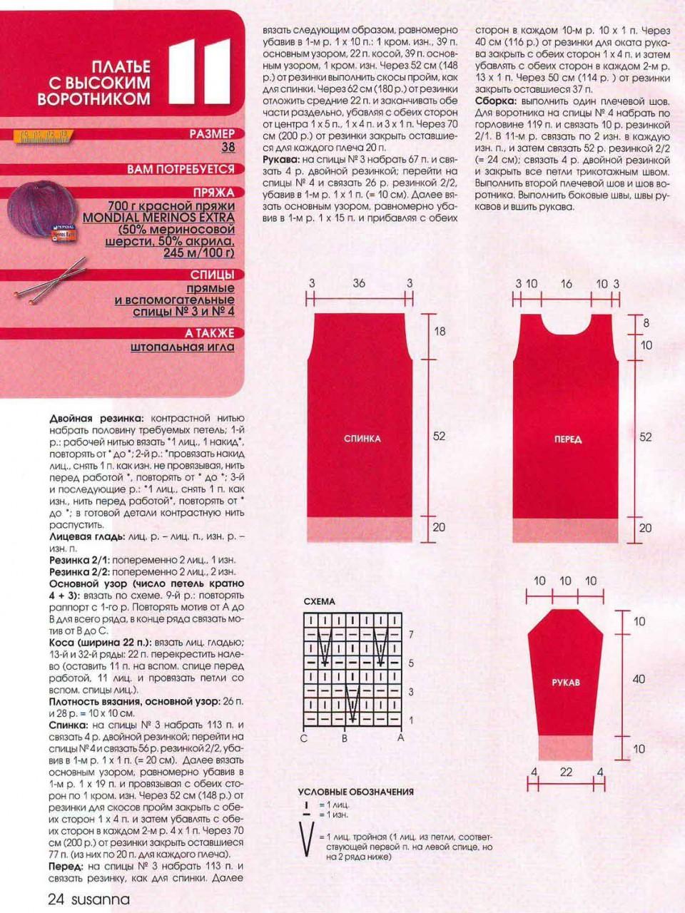 Вязание спицами платье с вырезом