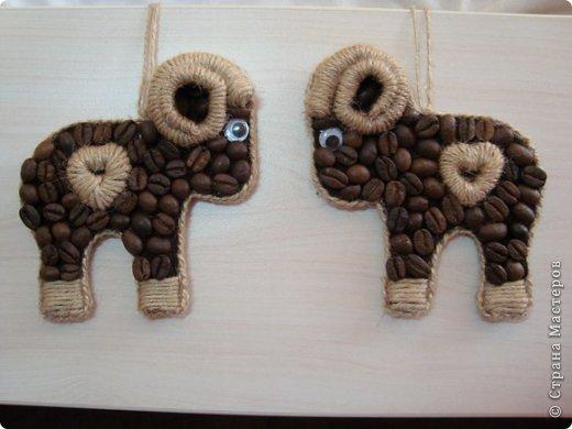 Мастер-класс Поделка изделие Новый год Аппликация кофейные барашки символ2015 Кофе Шпагат фото 17