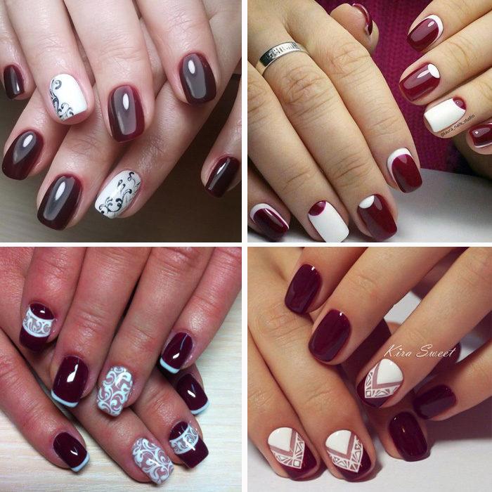 Ногти цвета марсала с дизайном