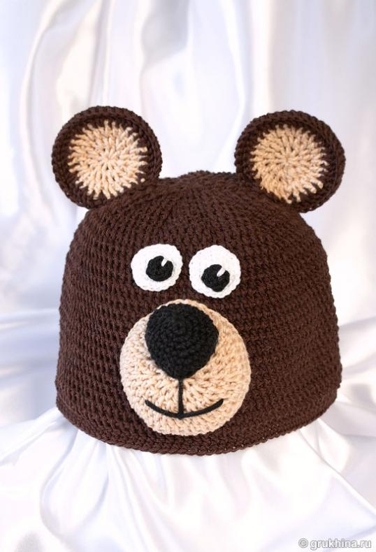 шапка медвежонок спицами