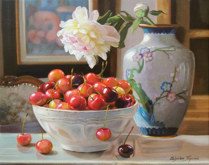 пионы и вишни картина