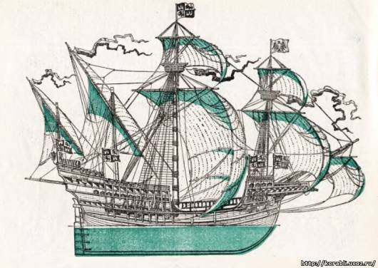 Венецианская каракка начала xvi века имела длину 30 м, ширину 10 м, высоту борта 6,5 м