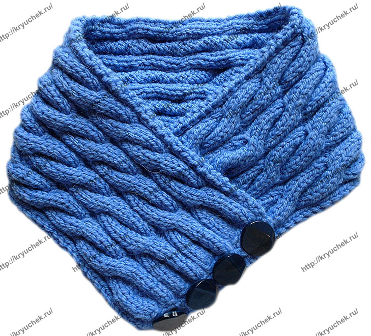 Пример связанного спицами шарфа – воротника «Синий иней» (3-ий вид)