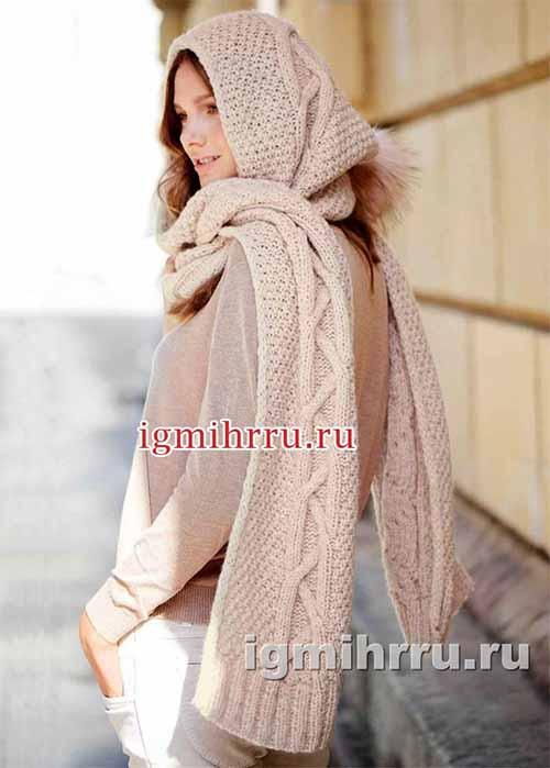 Розовый шарф с капюшоном