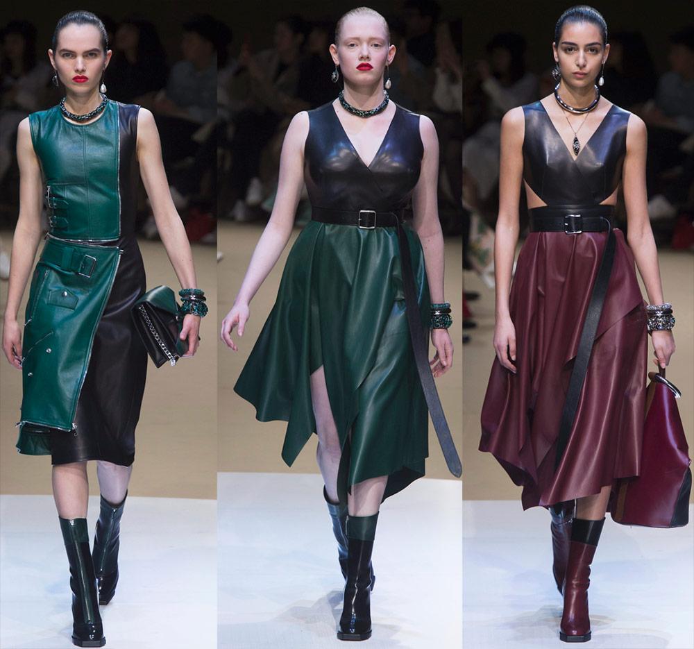 Подборка платьев из кожи в коллекциях 2018-2019