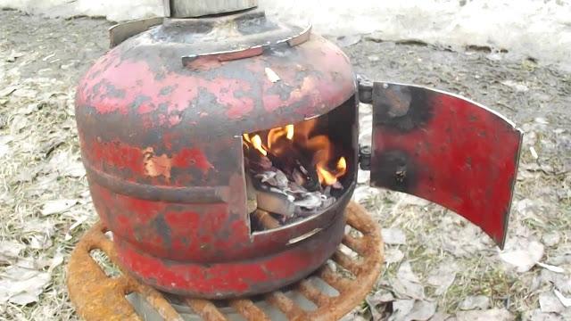 Походная печка из 5л газового баллона