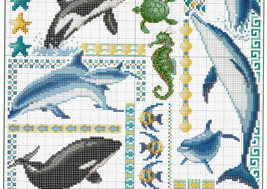 Схема вышивки морские обитатели 54