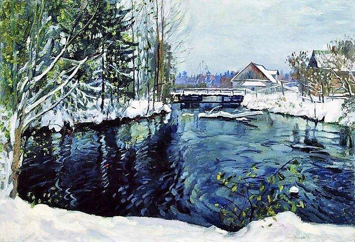 """""""Первый снег"""", 1944, холст, масло"""