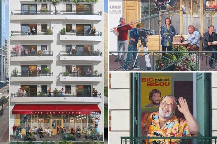 В несуществующих окнах и на открытых террасах кафе можно увидеть любимчиков публики и знаменитостей (Patrick Commecy & A.Fresco). | Фото: artofcare.ru.