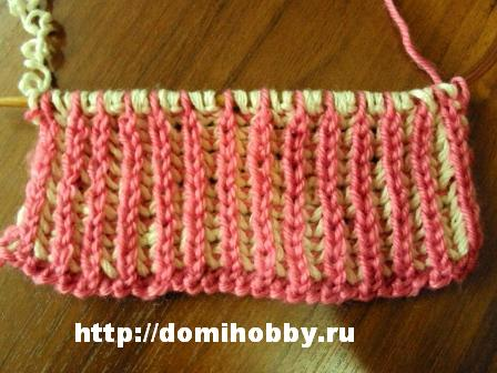 Техника вязания. Двухцветная английская резинка