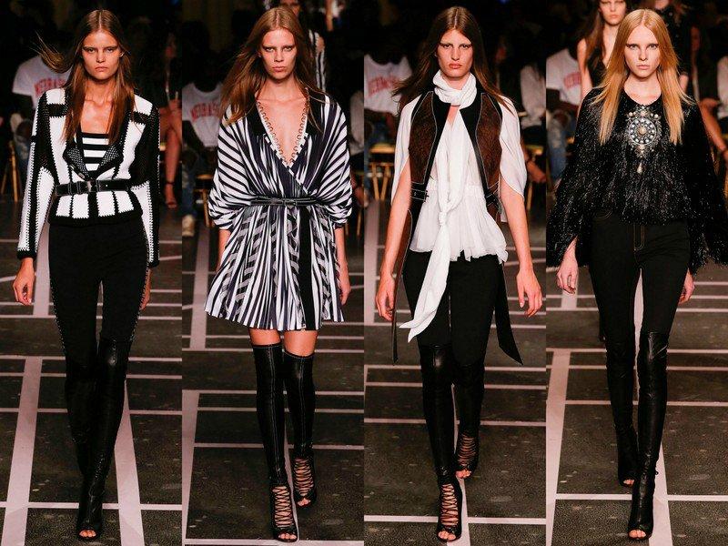 Givenchy весна-лето 2015 Париж: брутальная сексуальность девушек в ботфортах и прозрачных юбках