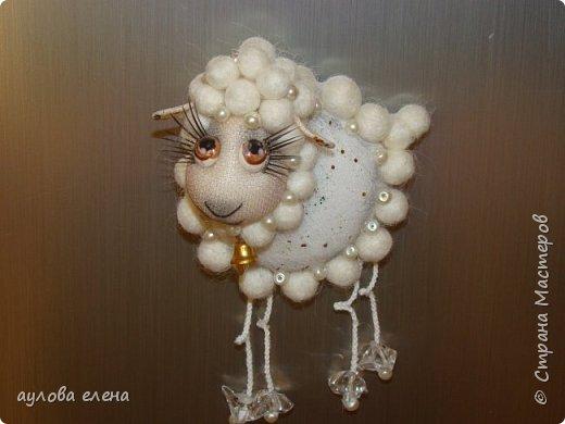 Мастер-класс Новый год Шитьё Магниты Овечки Капрон Картон Пряжа фото 39