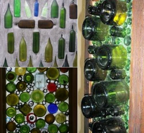 Поделки из стеклянных бутылок на даче фото