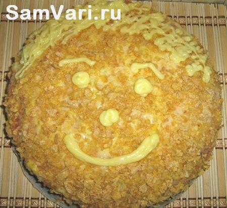 домашний бисквитный торт смайлик