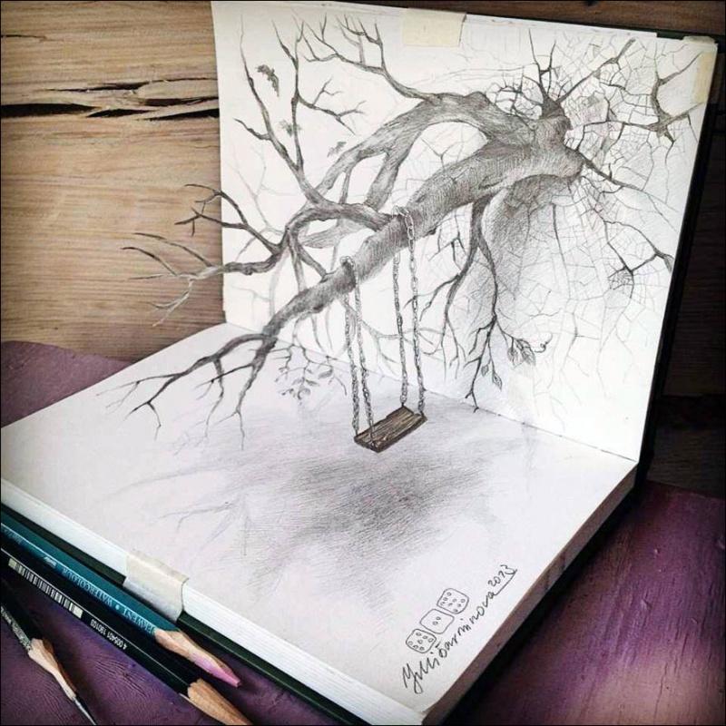 Потрясающие 3D-рисунки карандашом