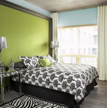 зелено-голубая спальня