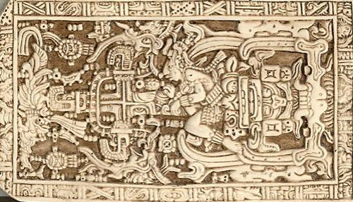 Широкую изъвестность получила идея исследователя Эриха Фон Дэникена, который предположил, что человек, изображенный в центре плиты является астронавтом. Если повернуть изображение на плите в горизонтальное положение, то открывшаяся взору картина действительно напоминает кабину космолета и его пилота.
