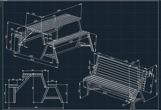 Чертежи скамейки трансформер своими руками