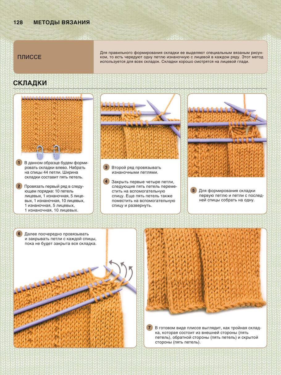 Складки при вязании спицами 848