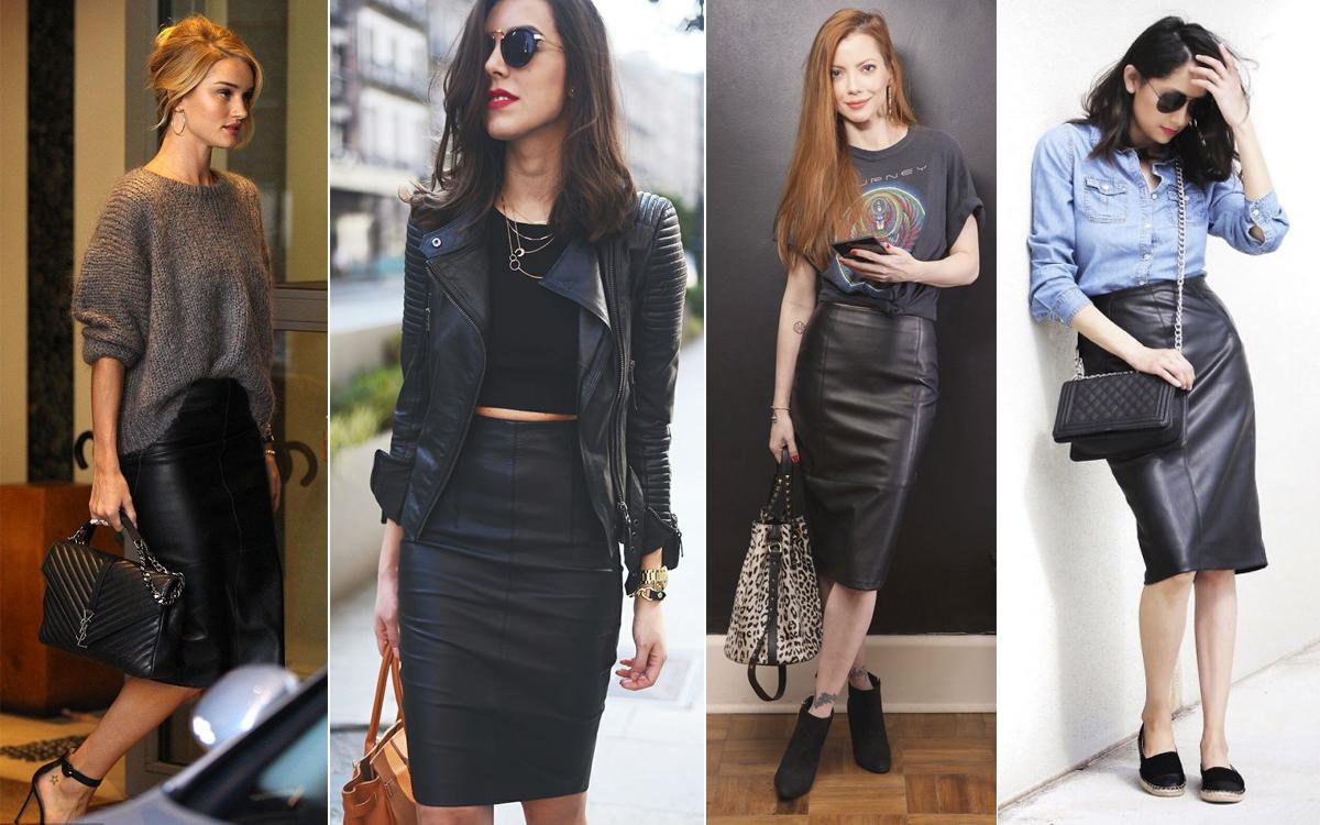 Весна 2017: модная кожаная юбка карандаш