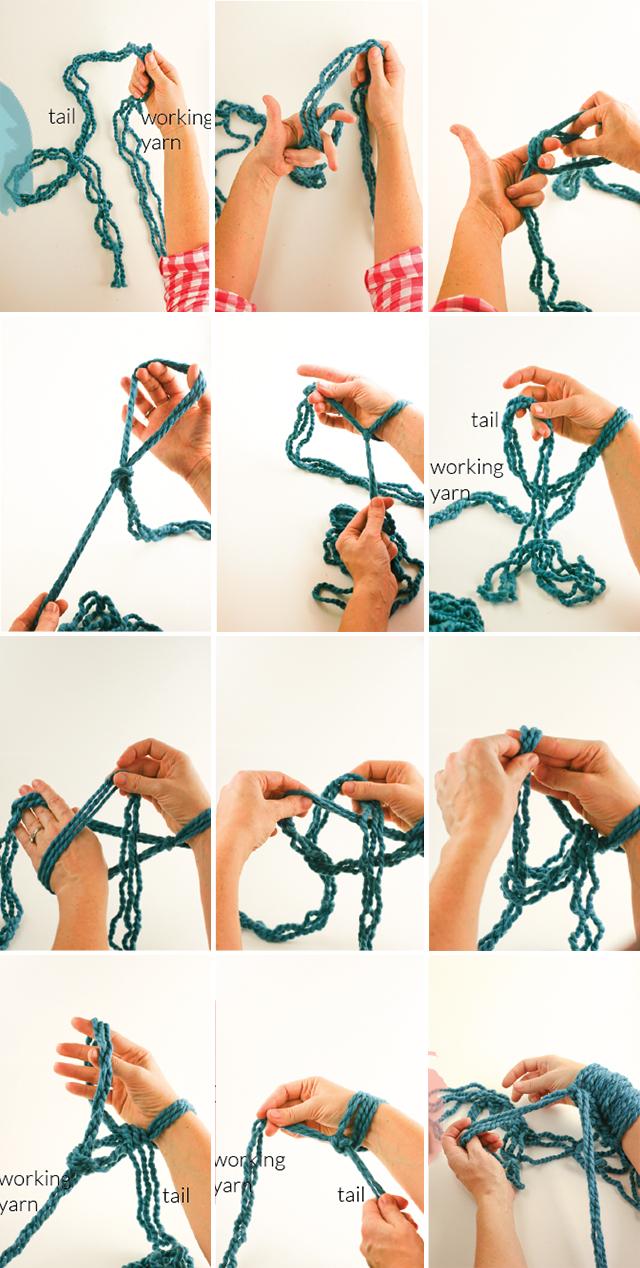 Гигантское вязание руками без спиц и крючка