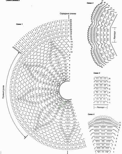 Схема вязания кокетки крючком круглой кокетки 44