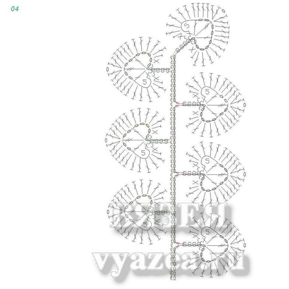 листики вязаные крючком схема