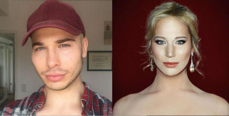 Найди 10 отличий: британец с помощью макияжа превращается в знаменитостей