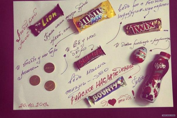 Плакаты любимому своими руками с шоколадками