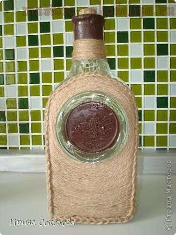 Мастер-класс: Декорирование бутылки шпагатом