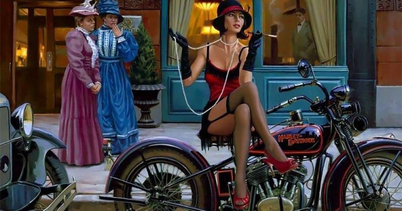 Бог мото-арта Дэвид Уль и его красотки Harley-Davidson