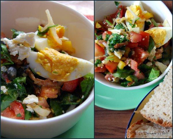 Летний салат с тыквенными семечками и свининой.