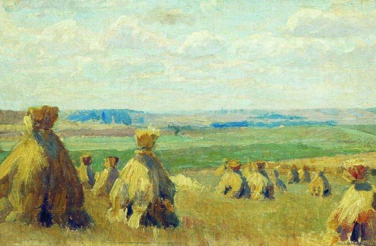 """""""Стога"""", 1897, ученическая работа, холст, масло"""