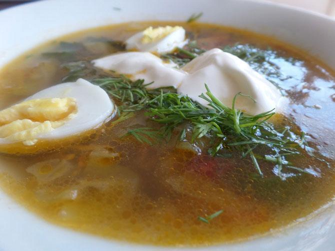 Летний суп с овощами и со свекольной ботвой на утином бульоне