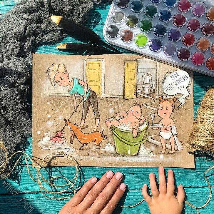 Мама 2детей продолжает рисовать свои будни. Получается слишком жизненно
