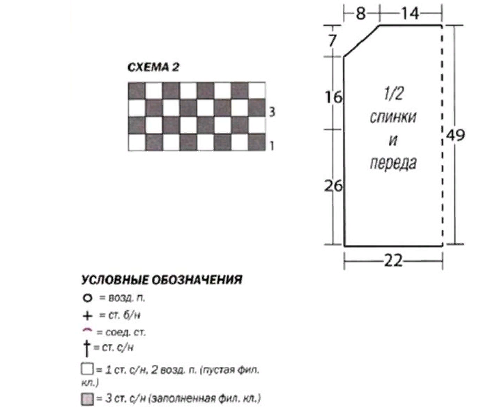 Схема №2 и выкройка полочки блузки